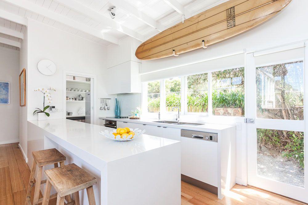 white and wood tones coastal decor
