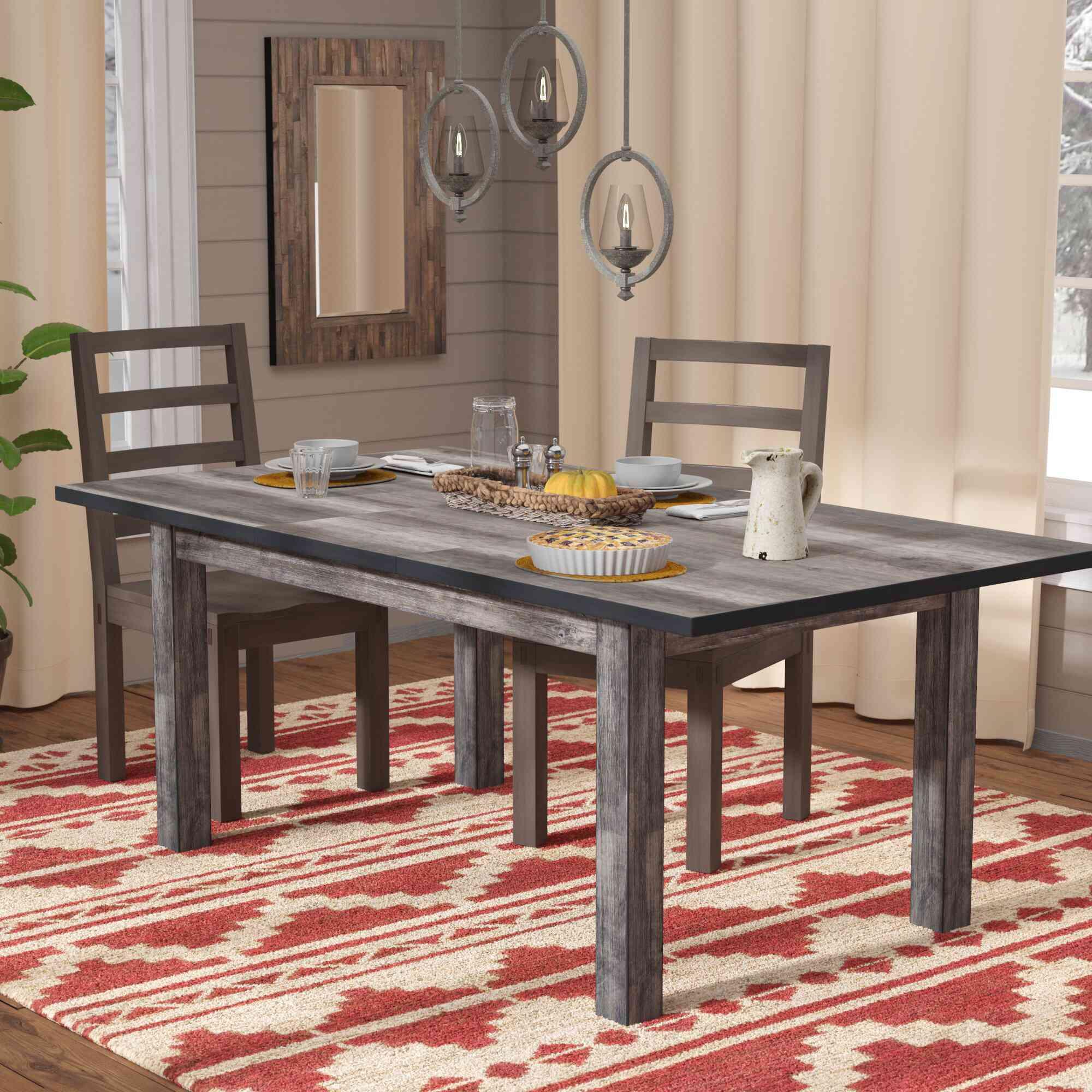 Mistana Katarina Extendable Rubberwood Solid Wood Dining Table