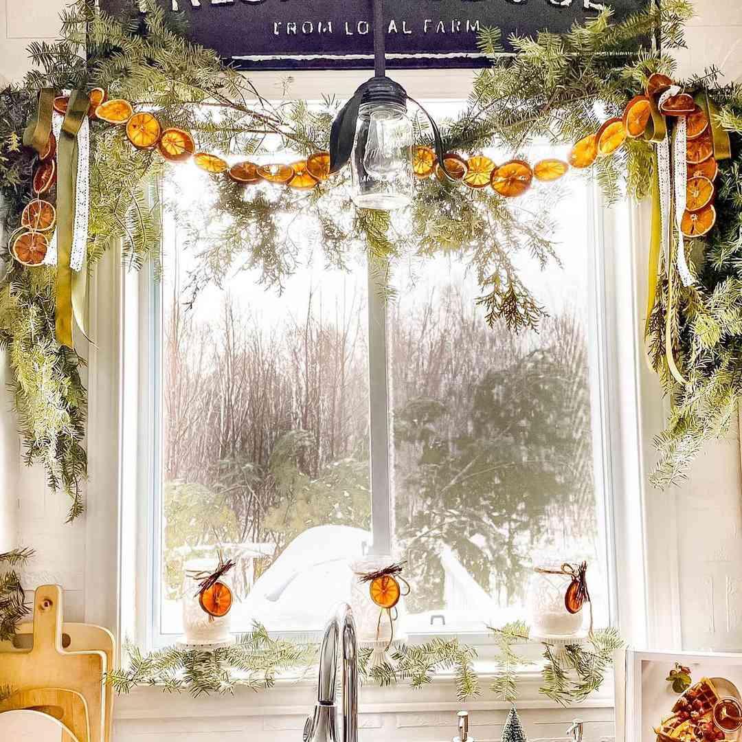 Dried orange slices hanging around window