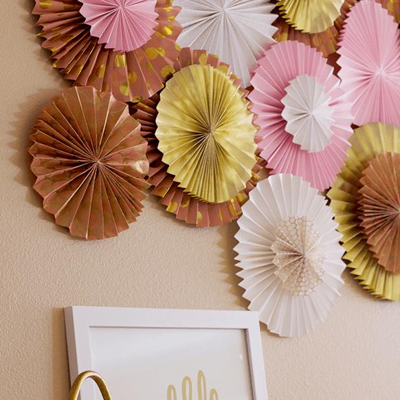 Paper fan wall art for girls' rooms