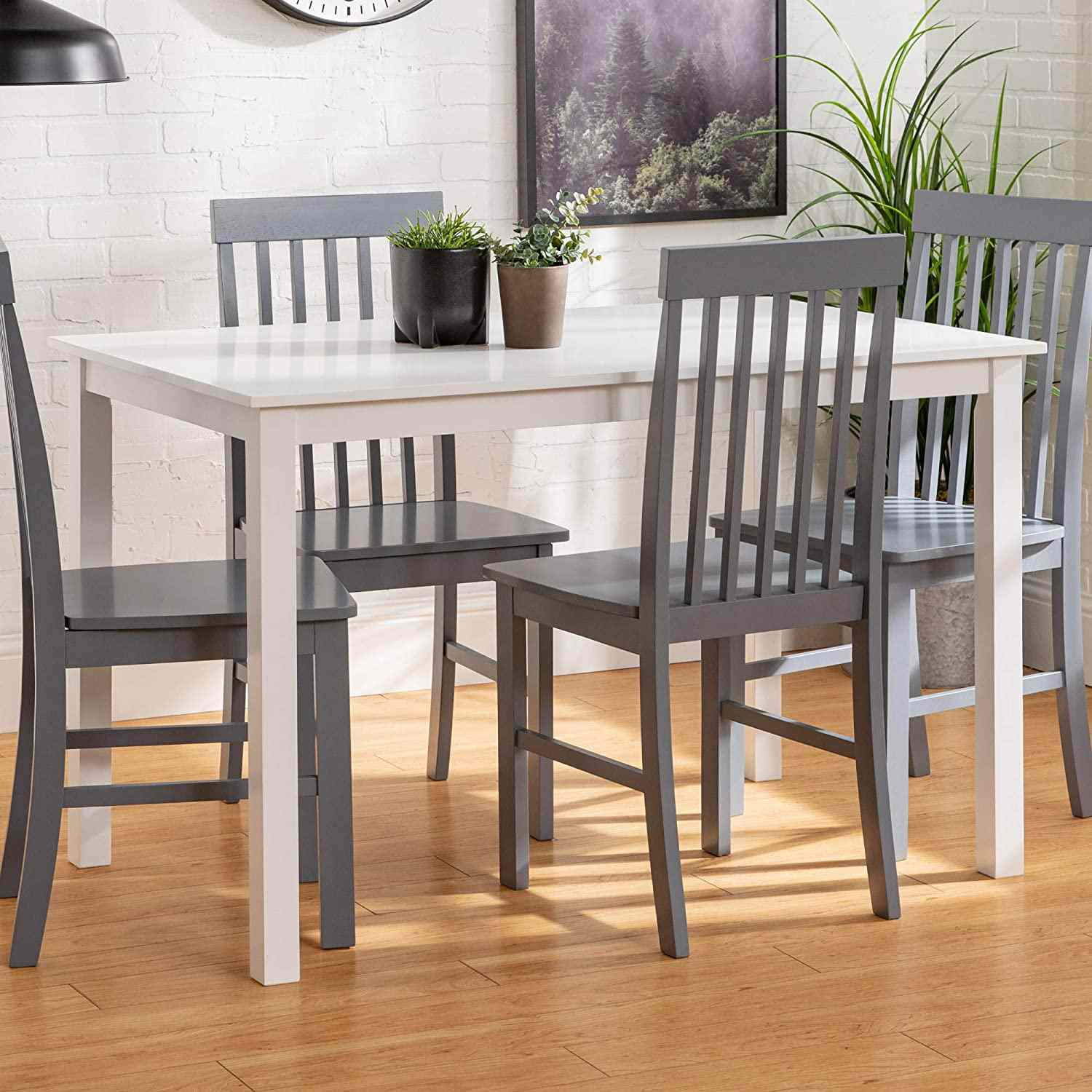 Walker Edison 4 Person Modern Farmhouse Wood Small Dining Table
