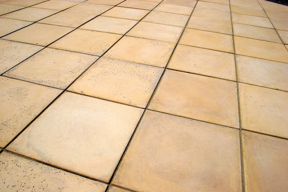 Sandstone flooring, laid as tiles