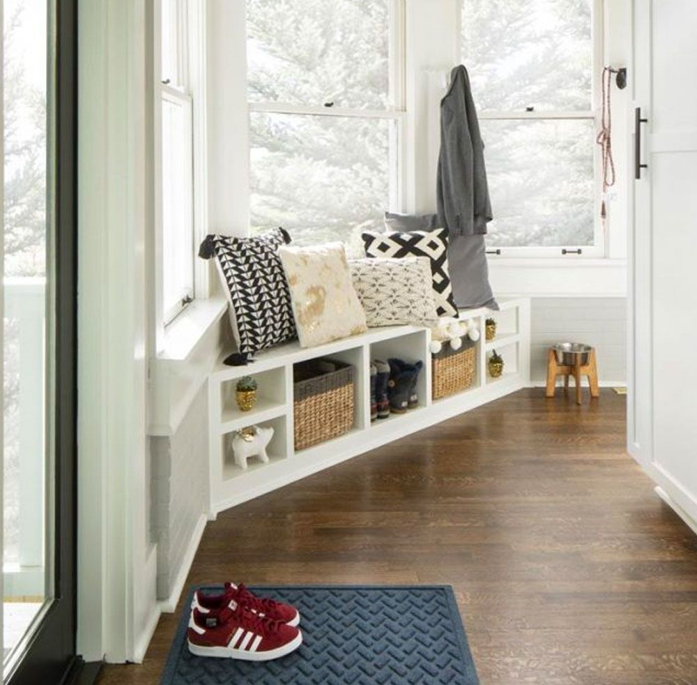 corner mudroom built-in bench in white
