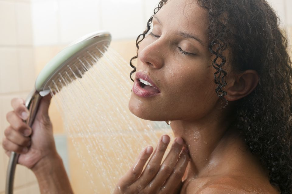A woman showering
