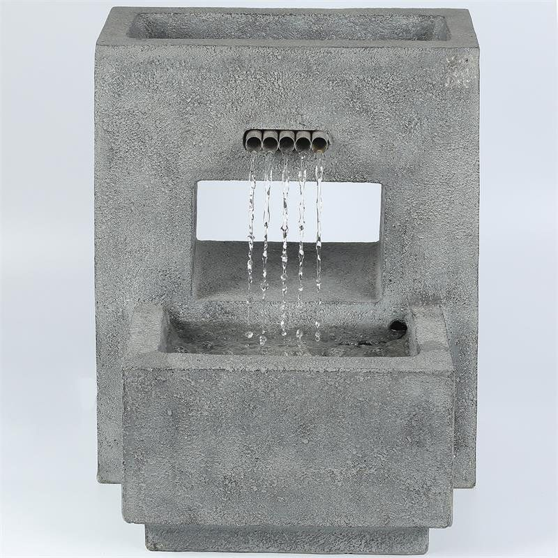 Luxen Home Resin Gray Pedestal Outdoor Patio Fountain