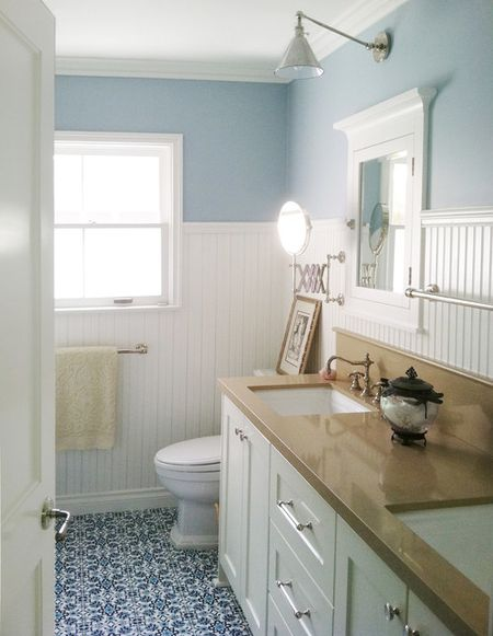 A beadboard bathroom
