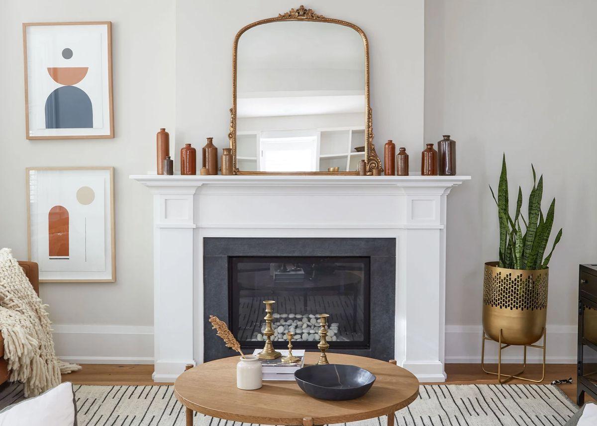 Gilded mirror over a mantel