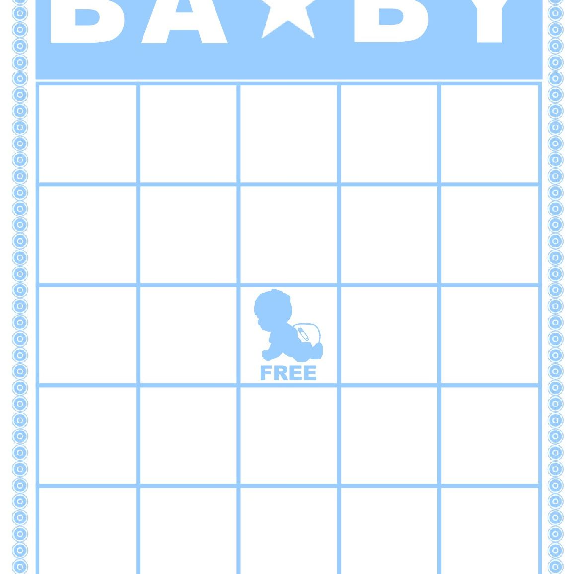 A Blue And White Baby Shower Bingo Card