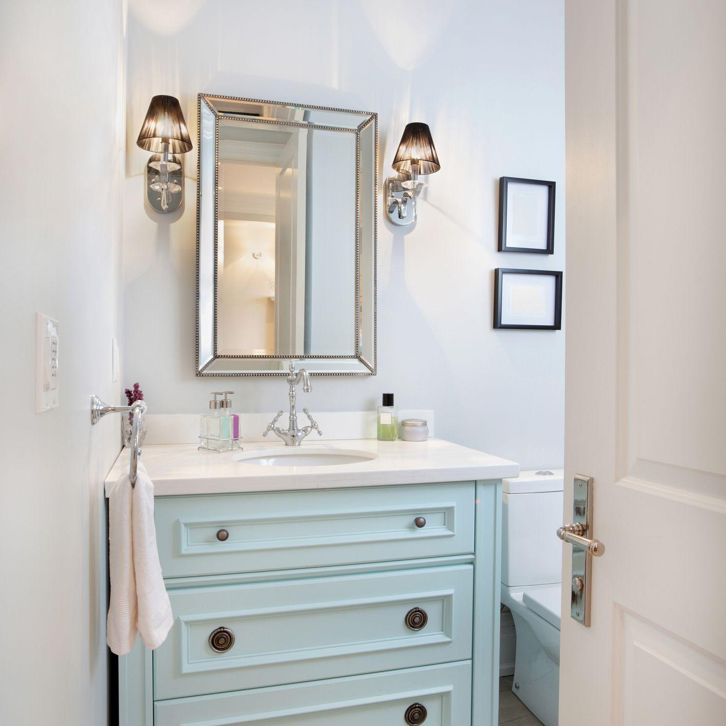 Pastel blue powder room