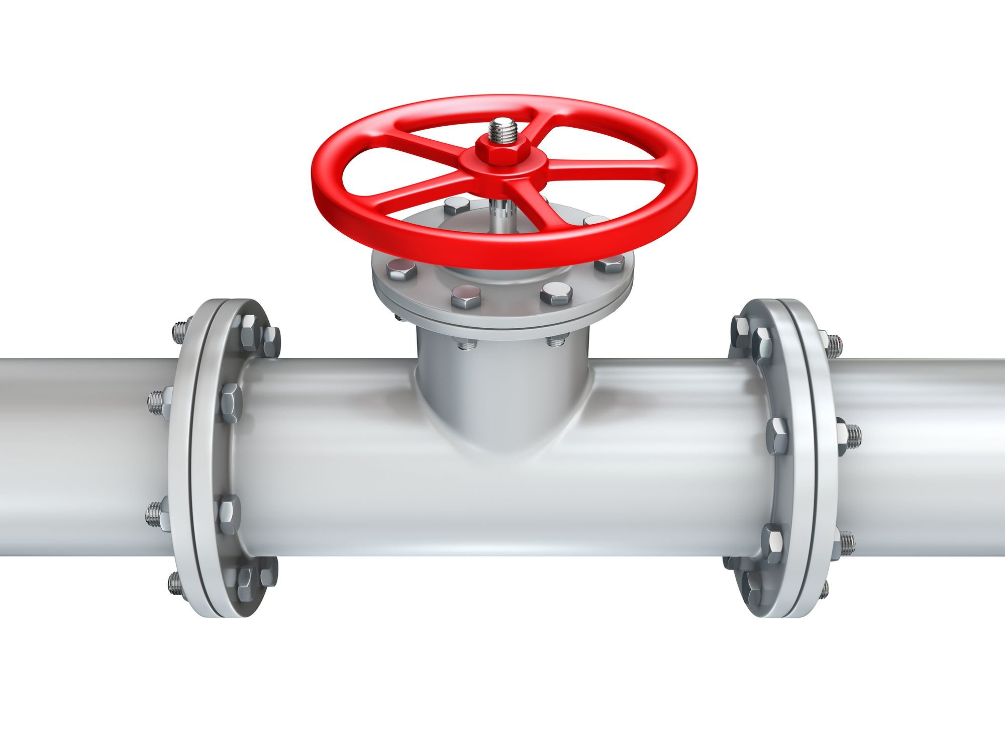 Gate valve with a red circular valve on top