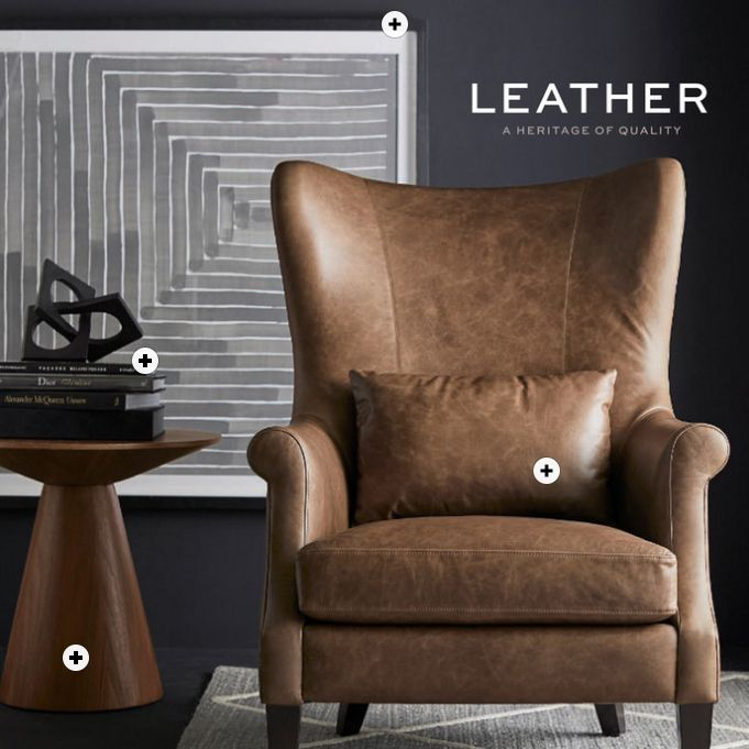 The cover of the September 2019 Pottery Barn catalog featuring a leather chair