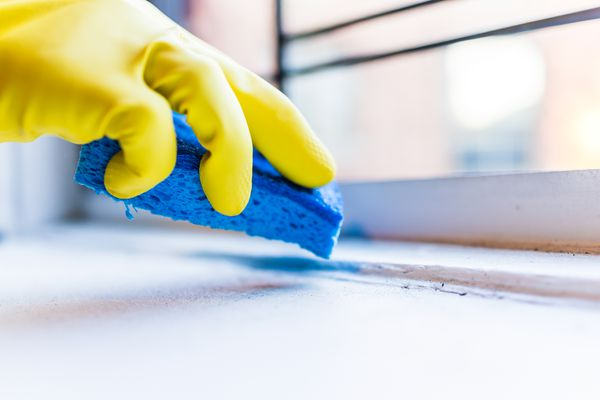 Person cleaning windowsill with sponge