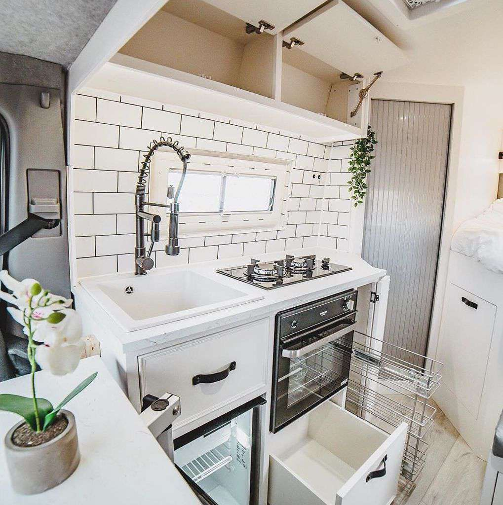 Tiny house van with small kitchen