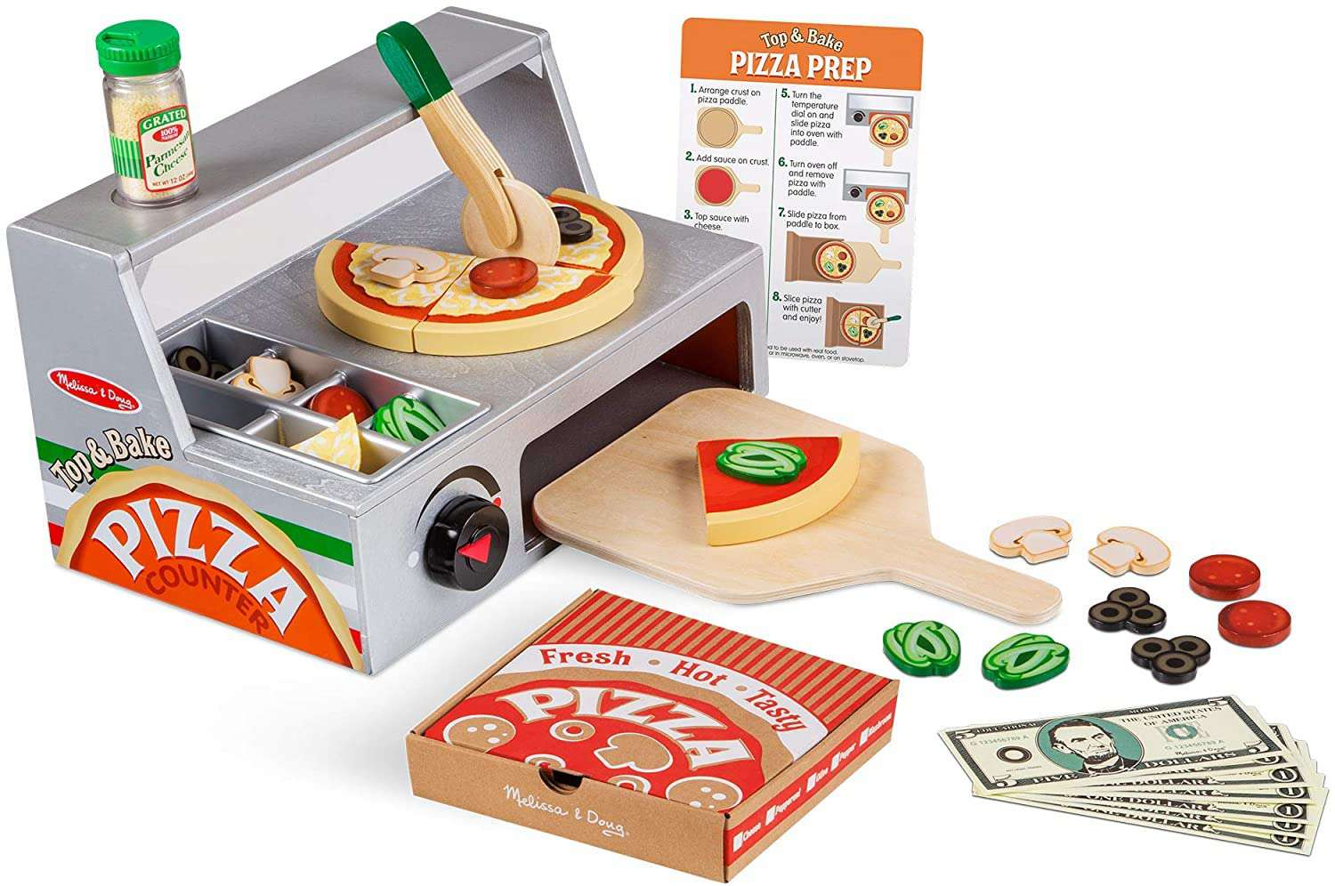 Melissa & Doug Top and Bake Wooden Pizza Counter Play