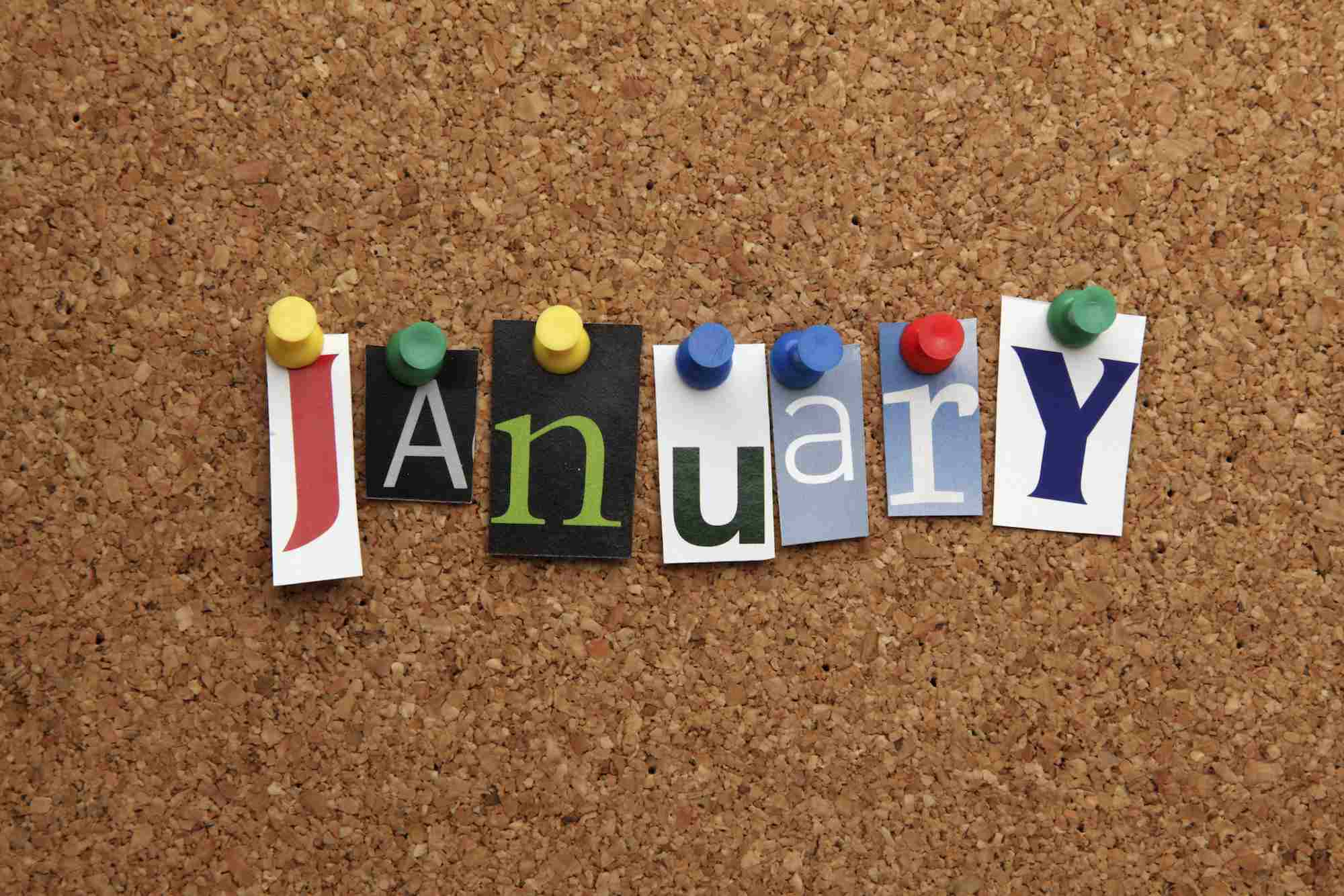 January pinned on noticeboard