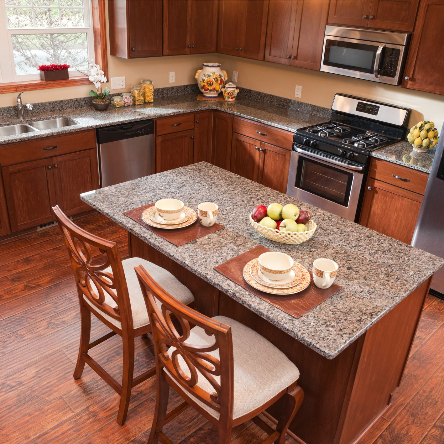 Can You Install Laminate Flooring In the Kitchen? Brown And White Clic Kitchen Ideas on brown and living room ideas, brown kitchen cabinets, brown and white area, oak and white kitchen ideas, brown cabinets with white appliances, black and white kitchen ideas,