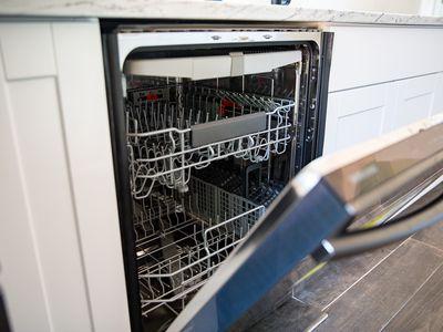 closeup of dishwasher