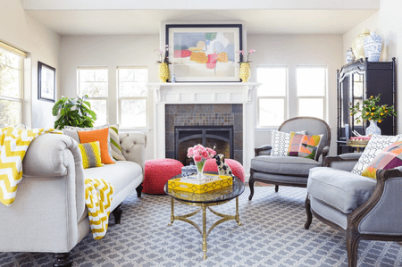 Living Room With Colorful Accessories