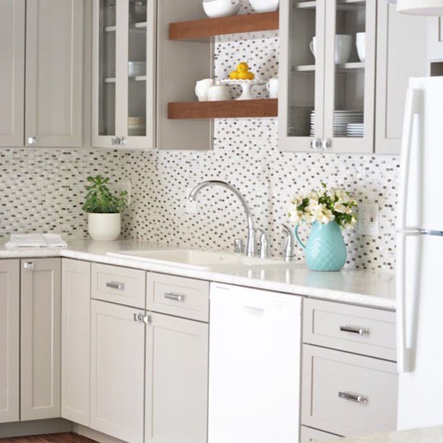 Gray Kitchen With Light Backsplash