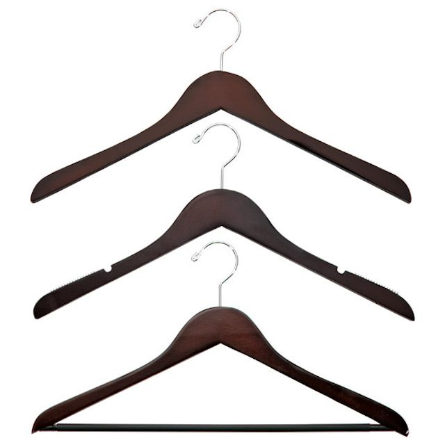 Container Store Basic Walnut Wooden Hangers (Pack of 6)
