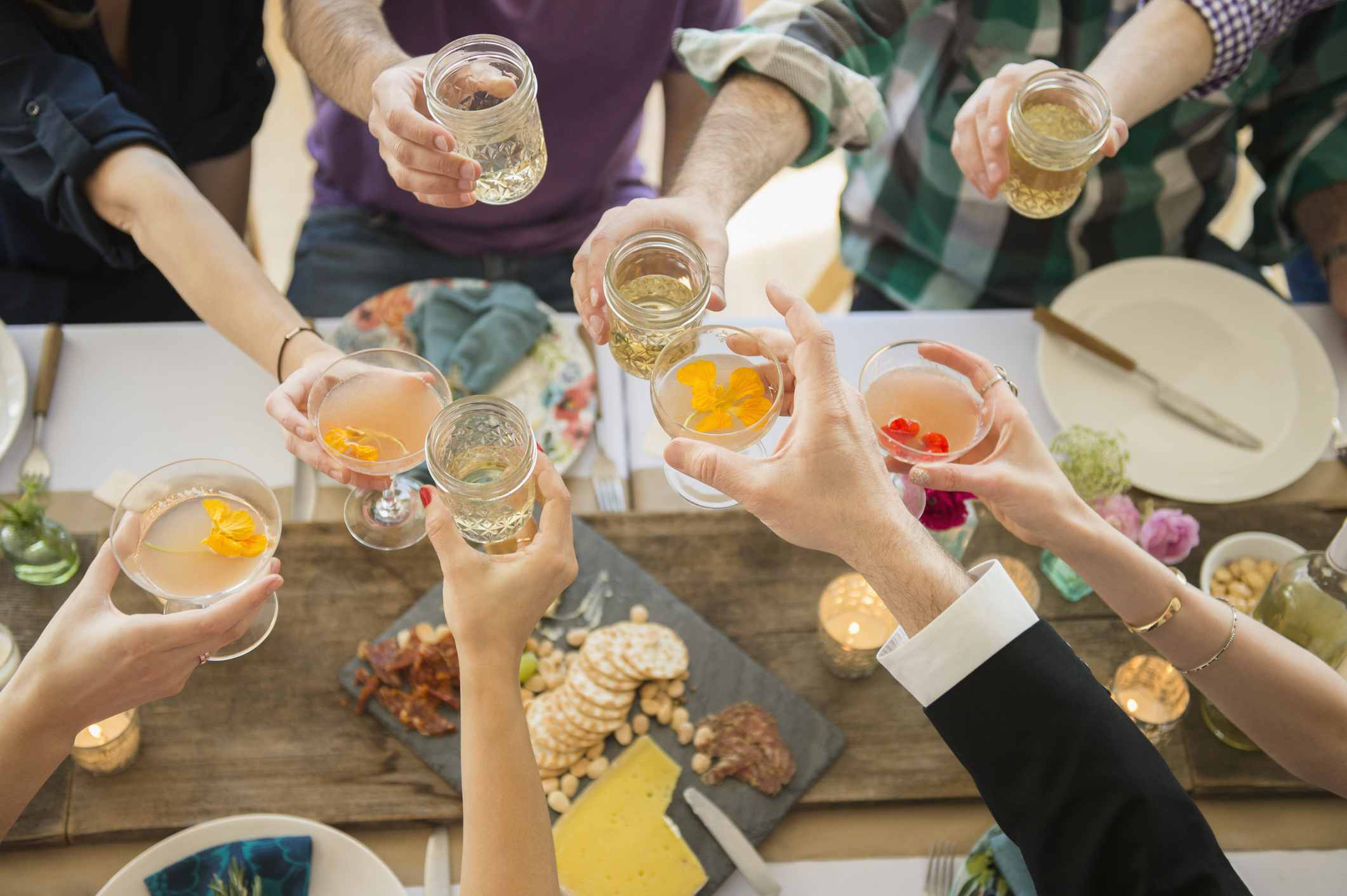 Friends toasting at a party