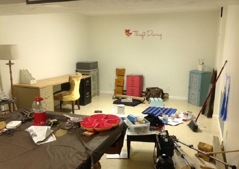 Before - Messy Basement Office Makeover