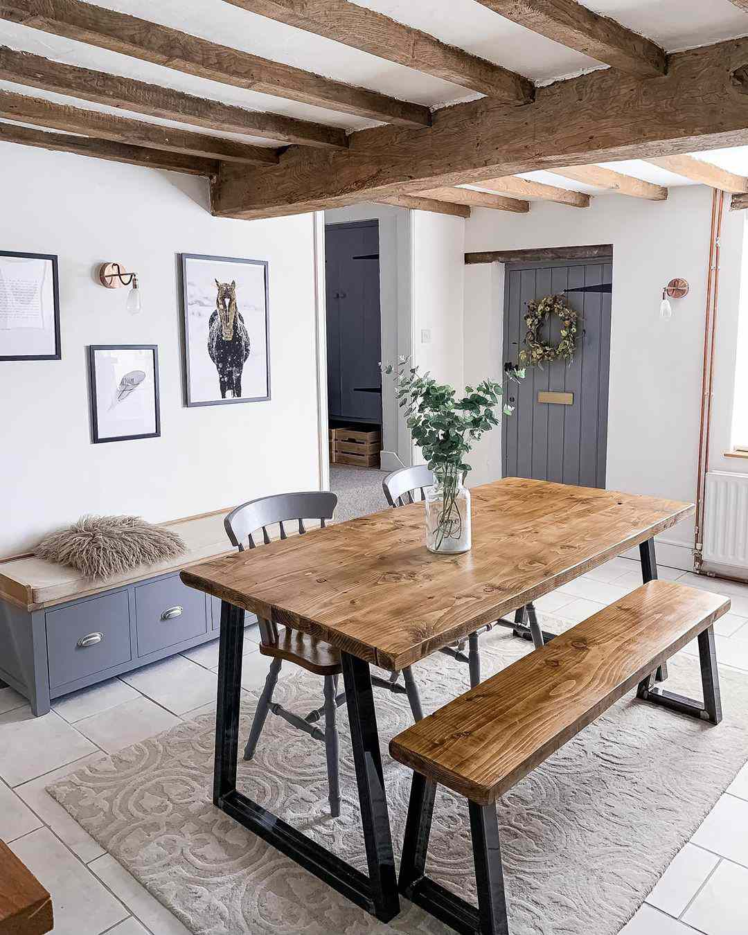 Rustic beans and dining table