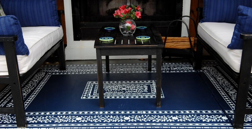 Blue stenciled concrete floor