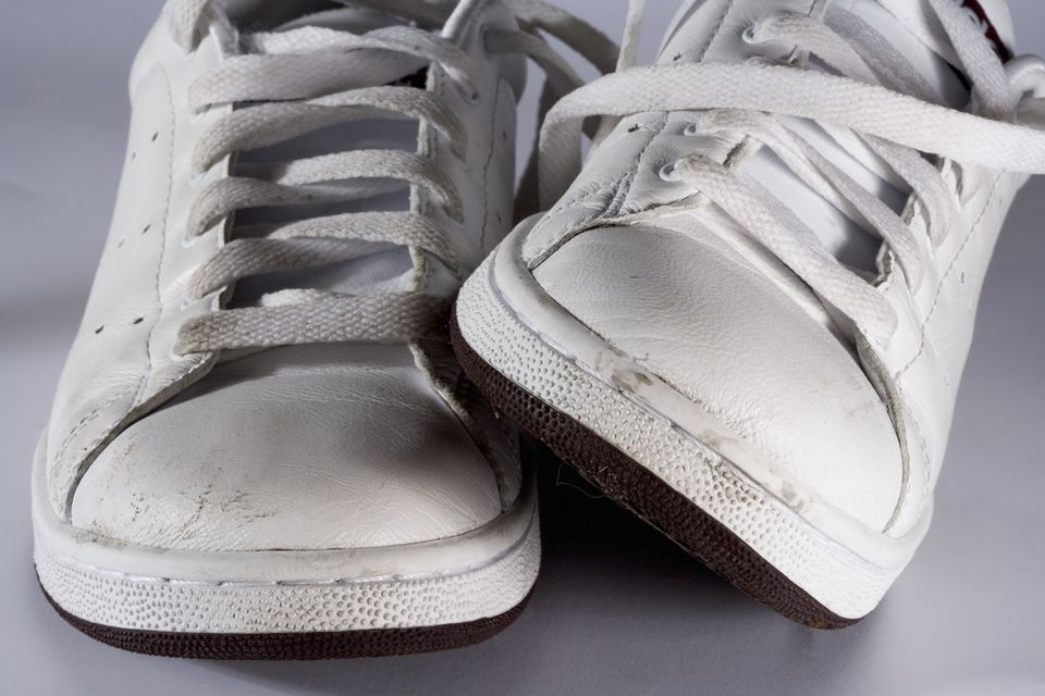 White leather athletic shoes