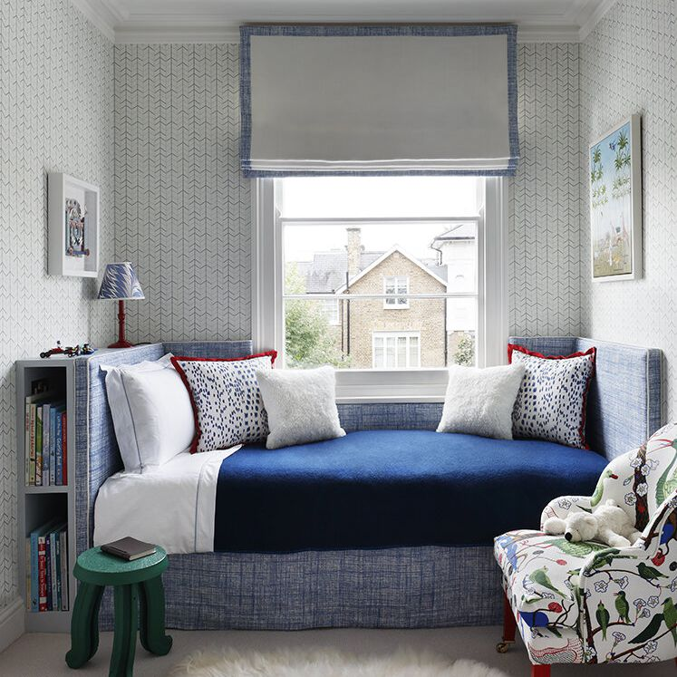 Bedroom with blue and red accents