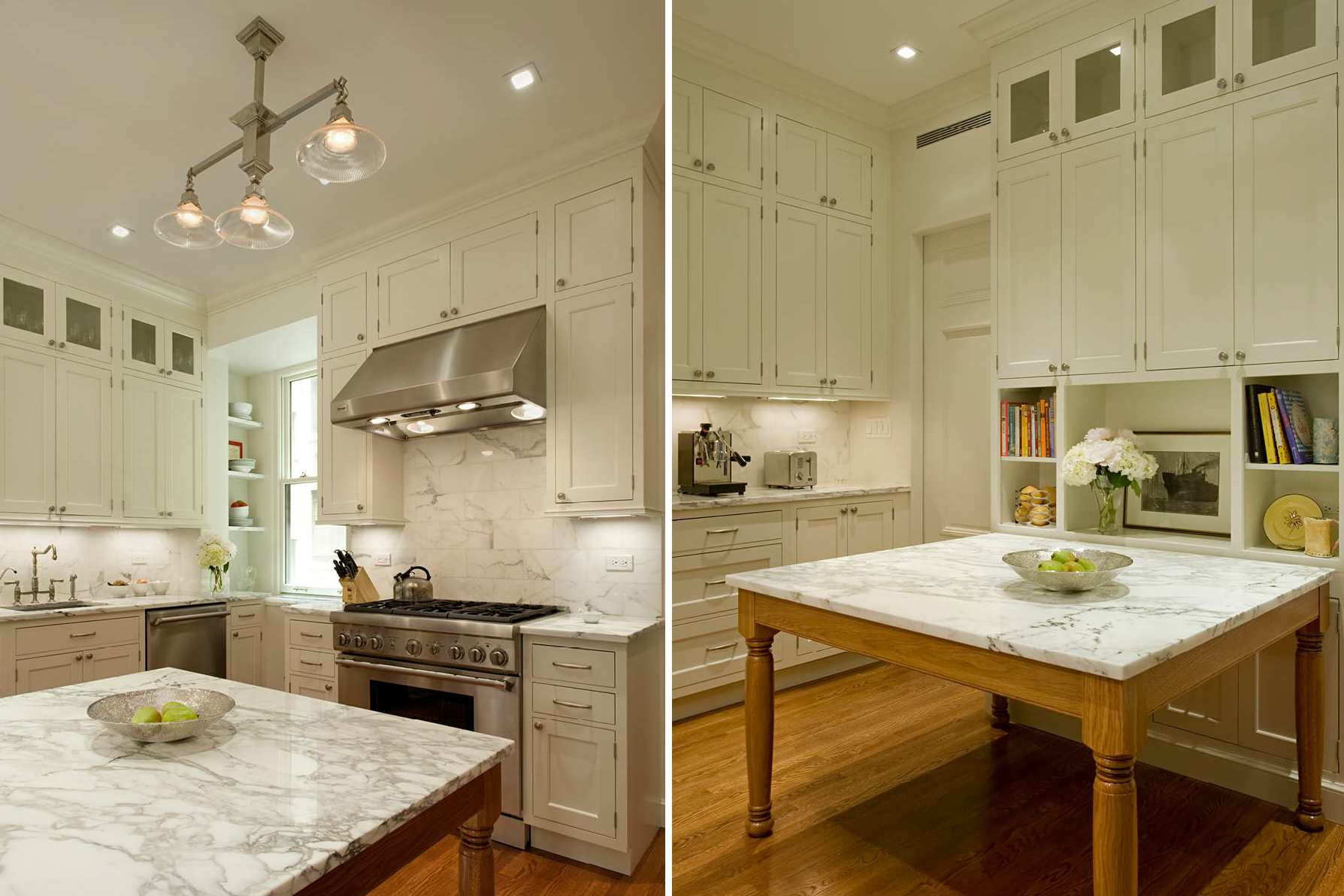 Marble kitchen countertop and matching table