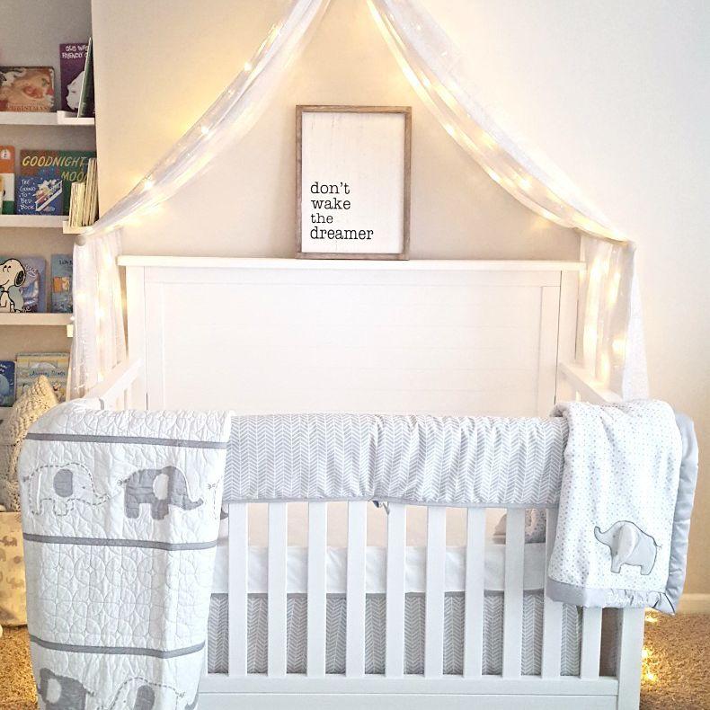 Crib canopy with fairy lights
