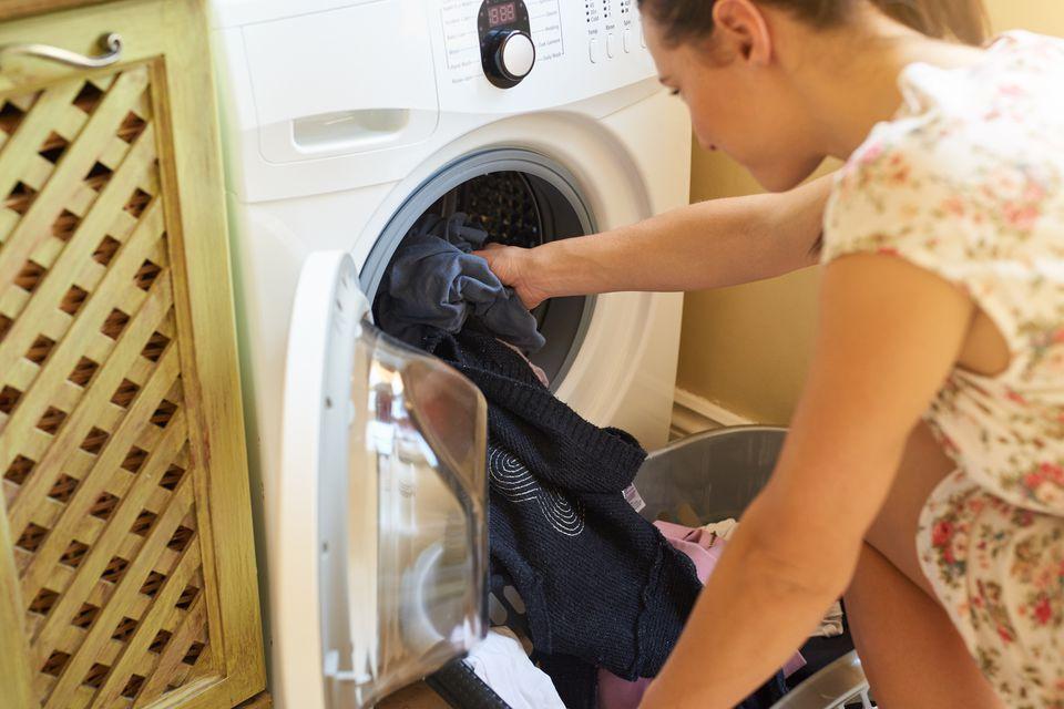 Woman doing dark wash