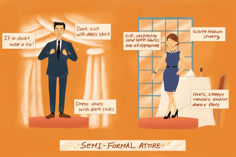 eba9bae4bc Illustration depicting semi-formal attire