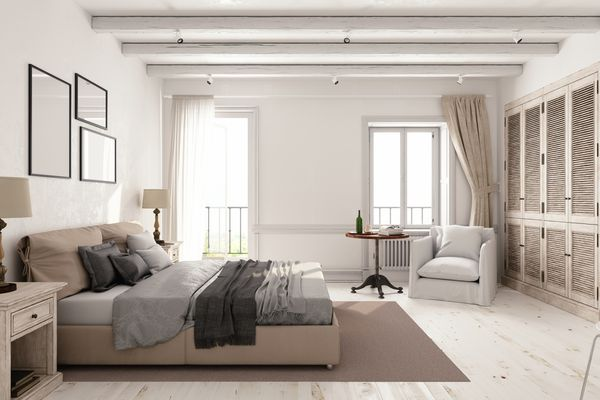 A simple master bedroom.