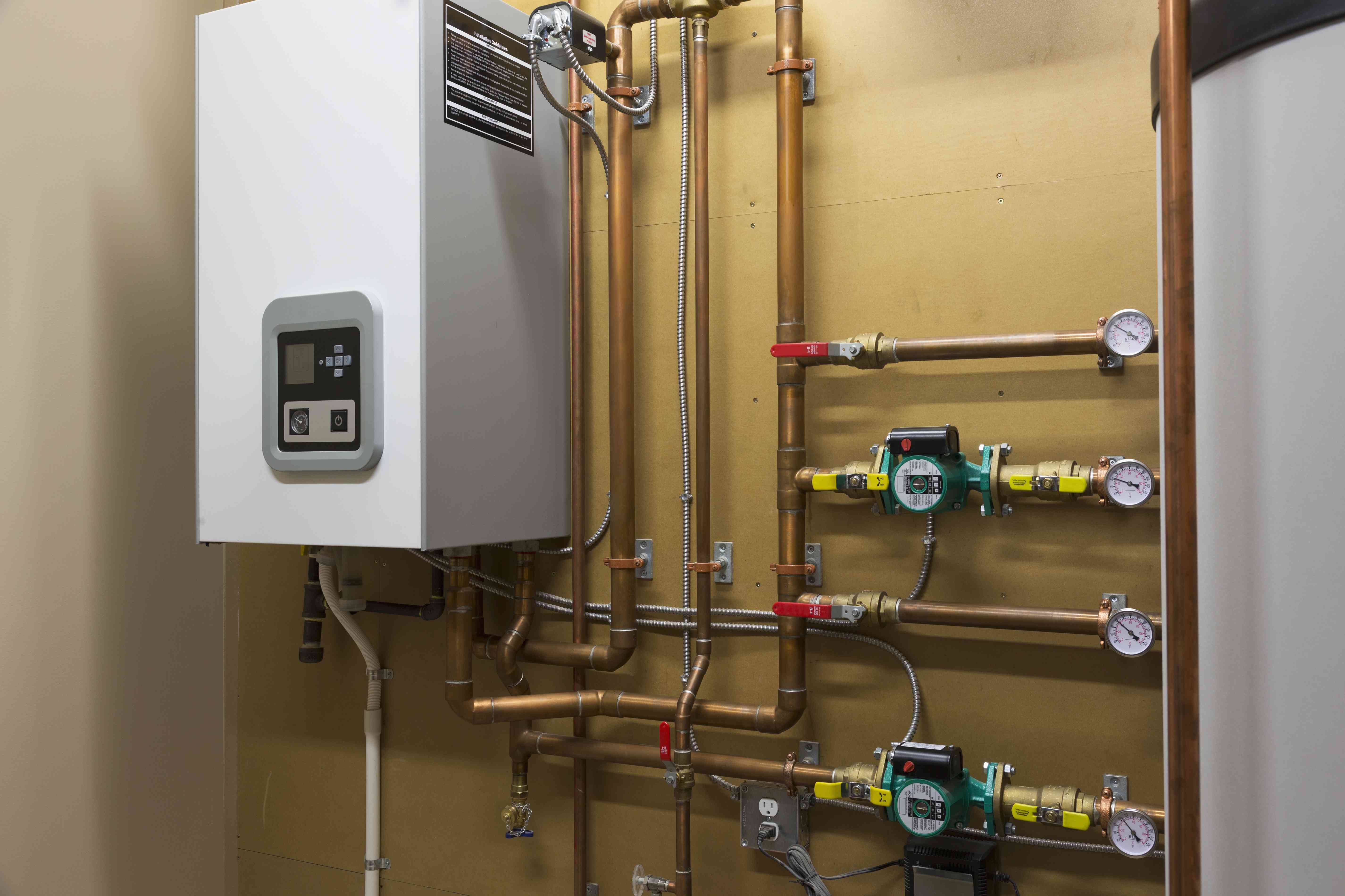 Hot water heating system in custom built luxury estate home