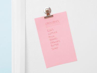grocery list on refrigerator