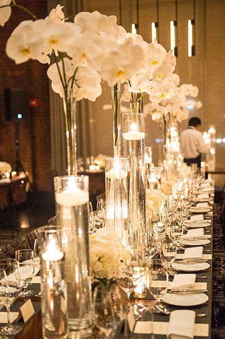 Timeless Orchid and Candle Centro de mesa para bodas de invierno