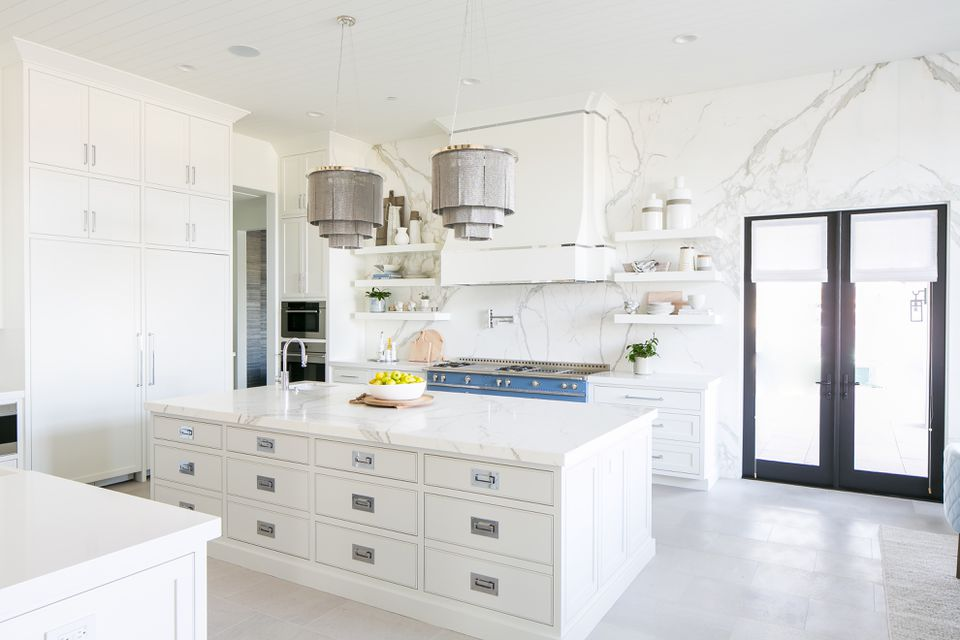 White marble open kitchen