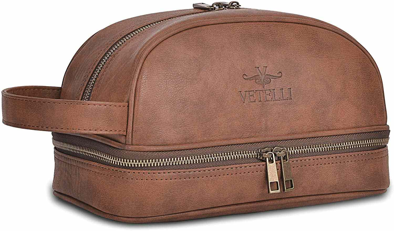 Vetelli Classic Leather Toiletry Bag