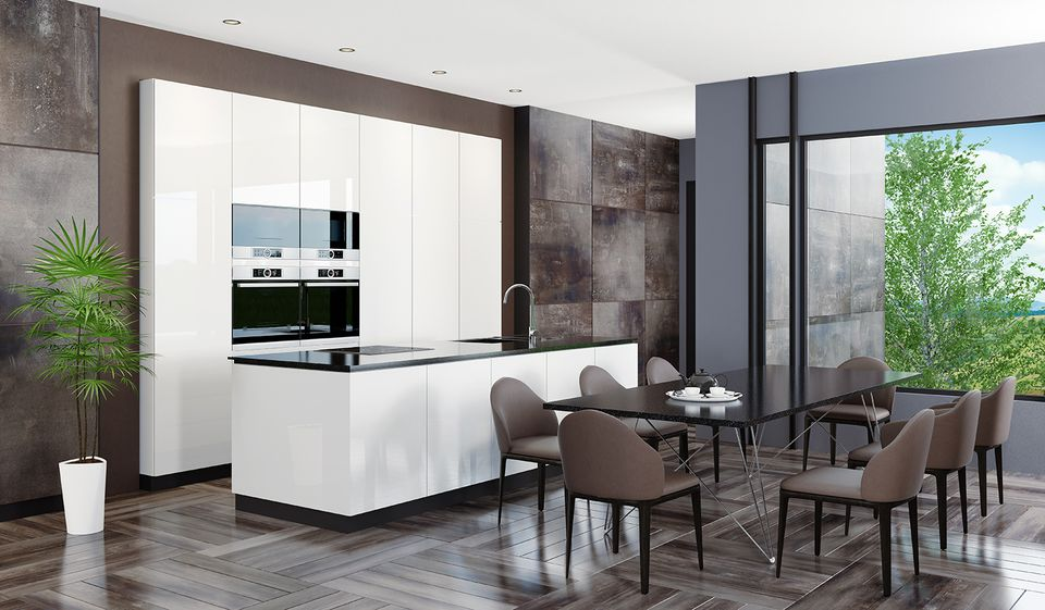 Modern dark stone home interior with kitchen table, chairs, and white cabinets.