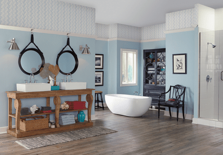 Blue Beach Inspired Bathroom With Sherwin Williams Watery