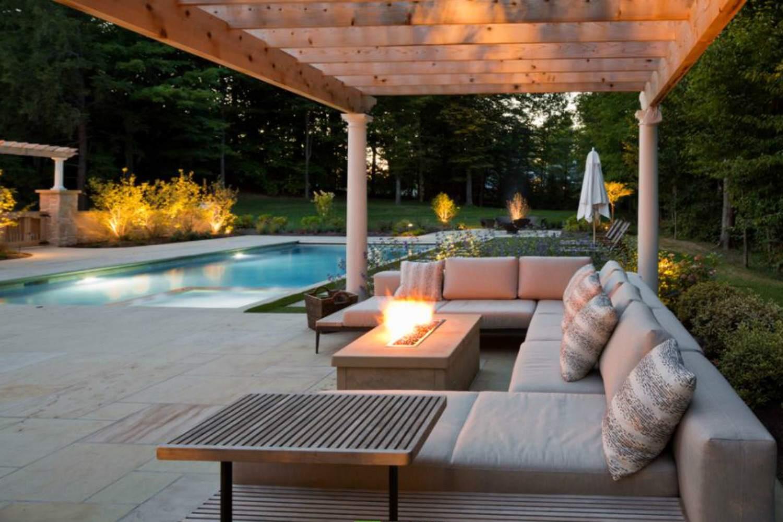 Modern pergola on a swimming pool patio