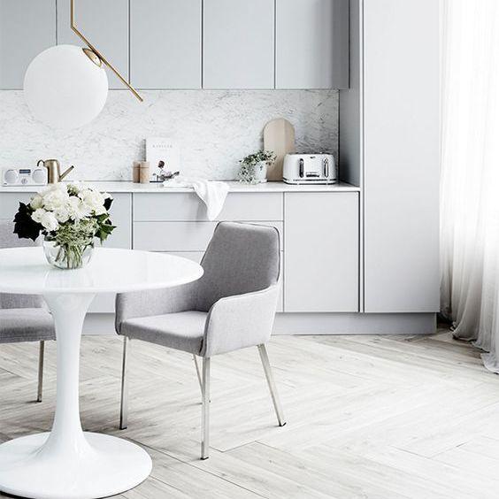 Modern light gray dining room