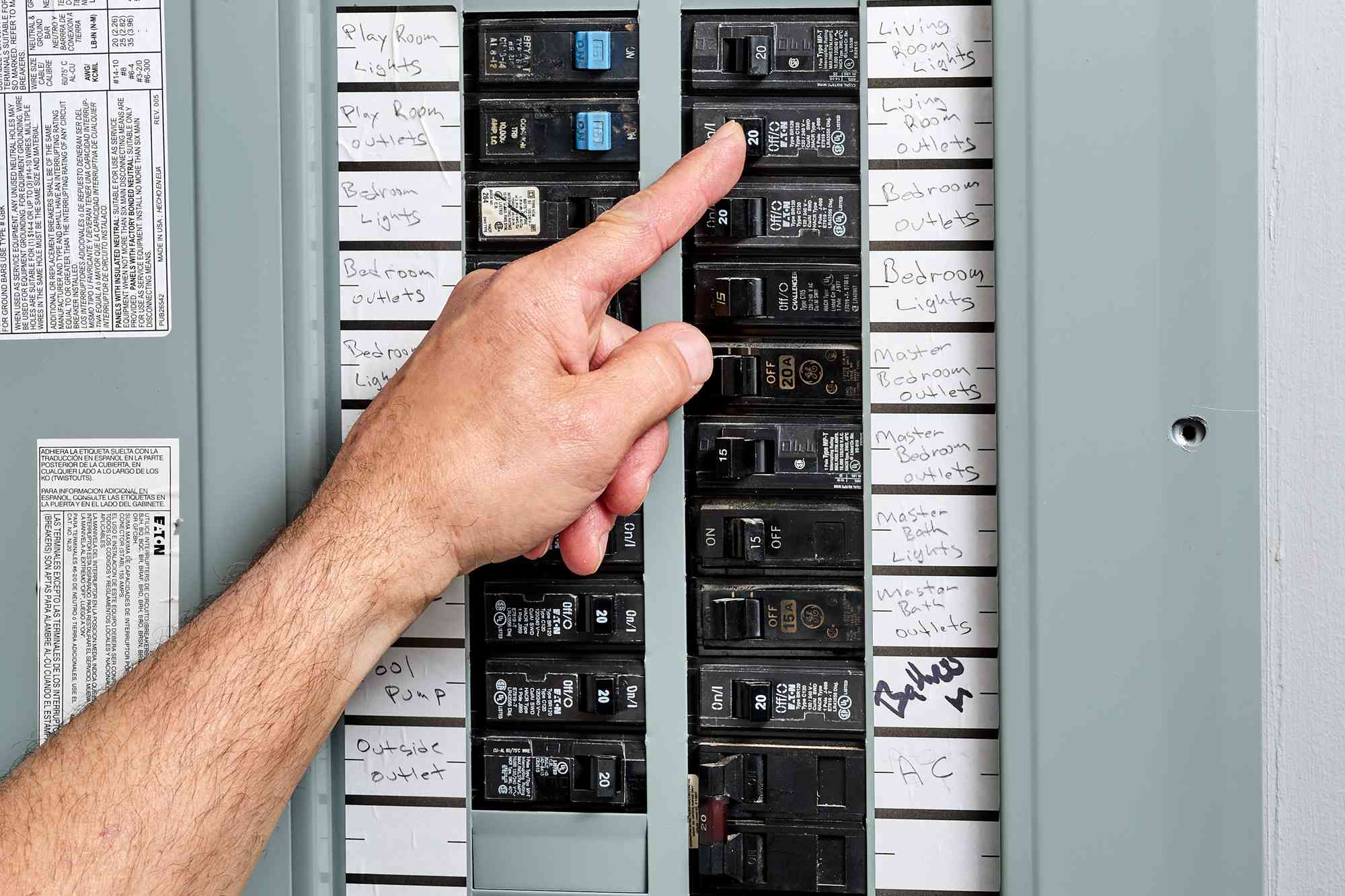 Power turned off through circuit breaker in service panel