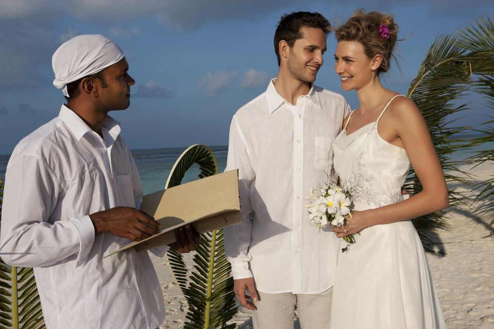 Wedding couple at island resort ceremony