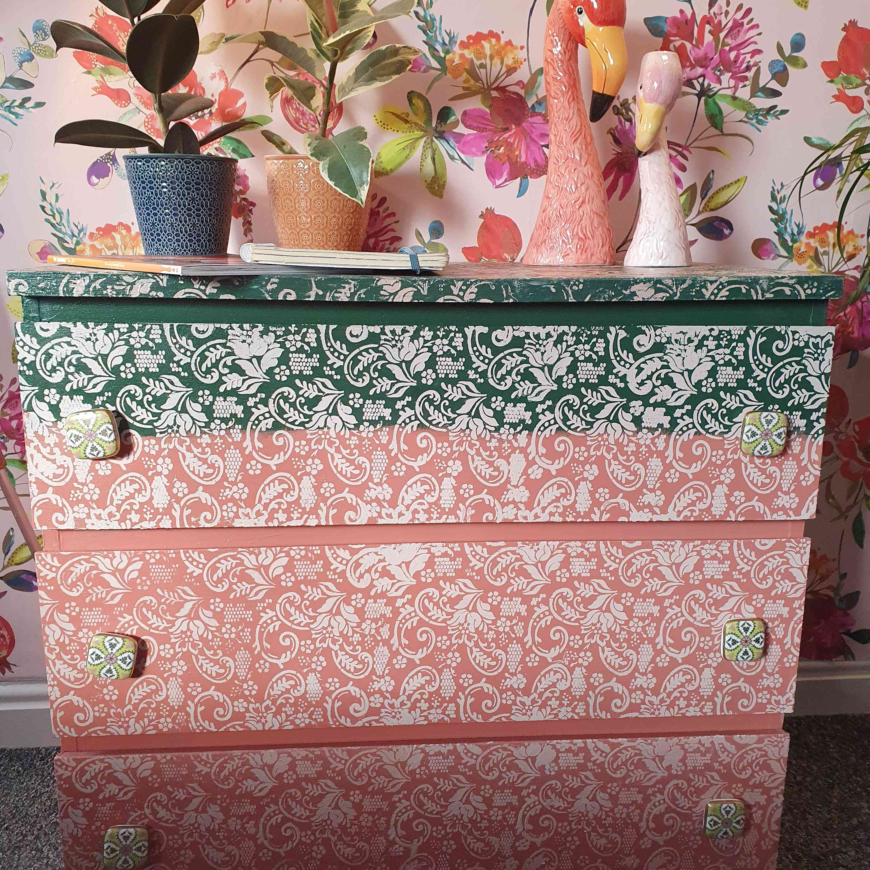IKEA Malm dresser painted pink and green with white paisley pattern