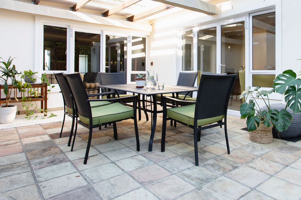 outdoor patio with stone tiles