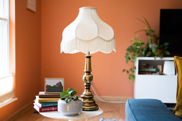Clean white lampshade with fringes on gold lamp on top of side table with books and houseplant