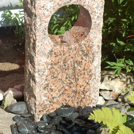 Picture of the stone fountain, installed.